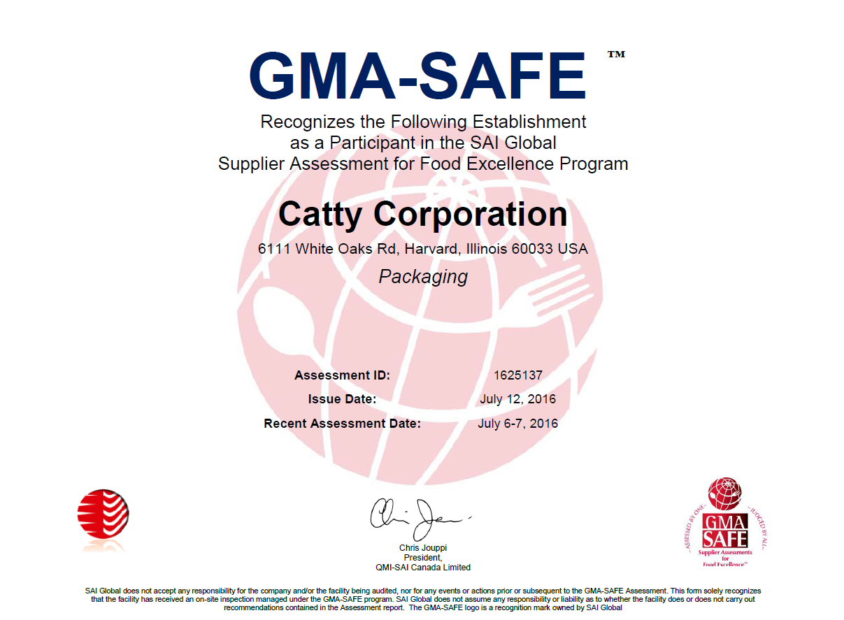 Quality catty corporation catty maintains gma grocery manufacturers association and fpa food packaging association certifications the facility also strictly adheres to gmp good xflitez Image collections